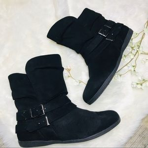 ID Required black flat boots